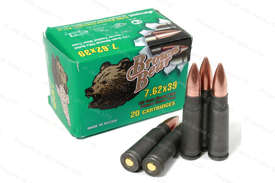 7 62x39 Brown Bear FMJ Ammo, 1000rds, Polycoat Case