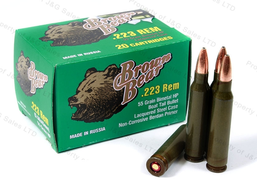 223 Brown Bear 55gr HP Ammo, 1000rds.