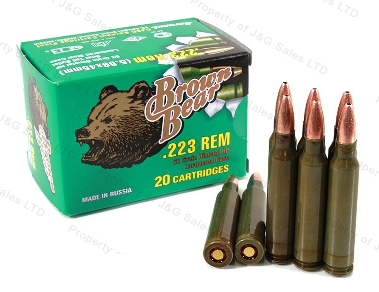 223 Brown Bear 62gr HP Ammo, 1000rds.