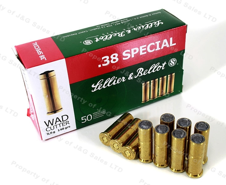 38 Special S&B 148gr LWC Lead Wad Cutter, 50rd Box.