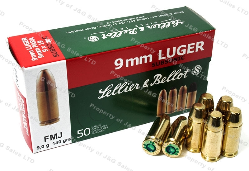 9mm S&B 140gr FMJ Subsonic Ammo, 1000rd case.