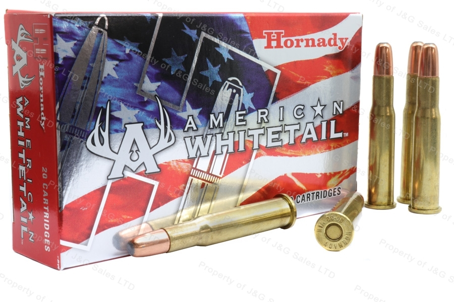 30-30 Win Hornady American White Tail 150gr SP Interlock Ammo, 20rd Box. 80801