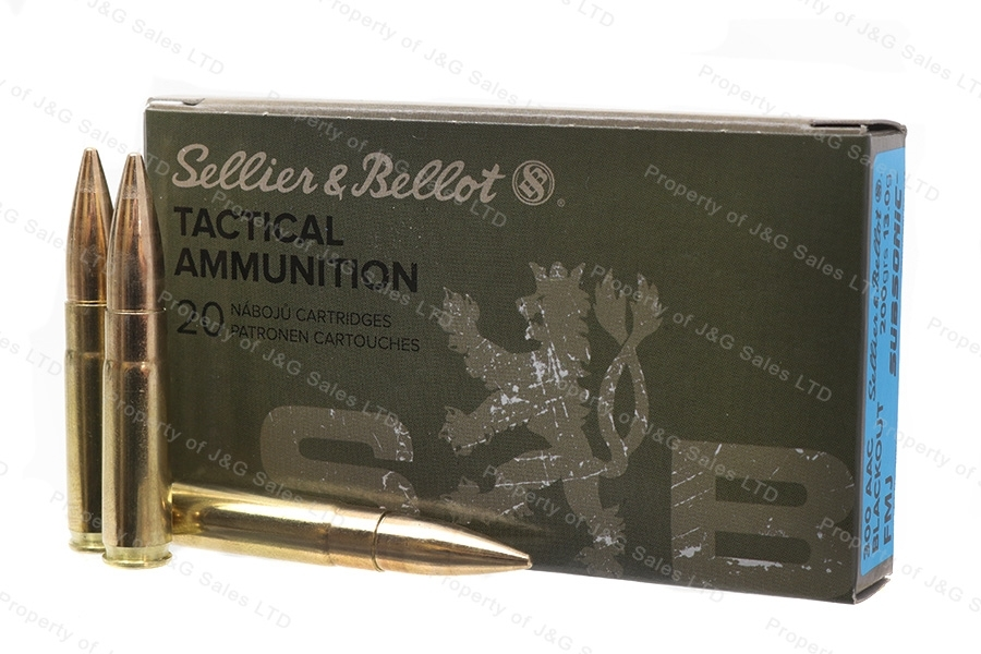 300 AAC Blackout S&B 200gr Subsonic FMJ Ammo, 20rd Box.