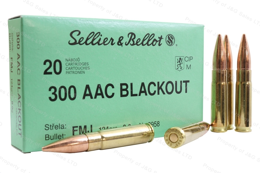 300 AAC Blackout S&B 124gr FMJ Ammo, 20rd Box.