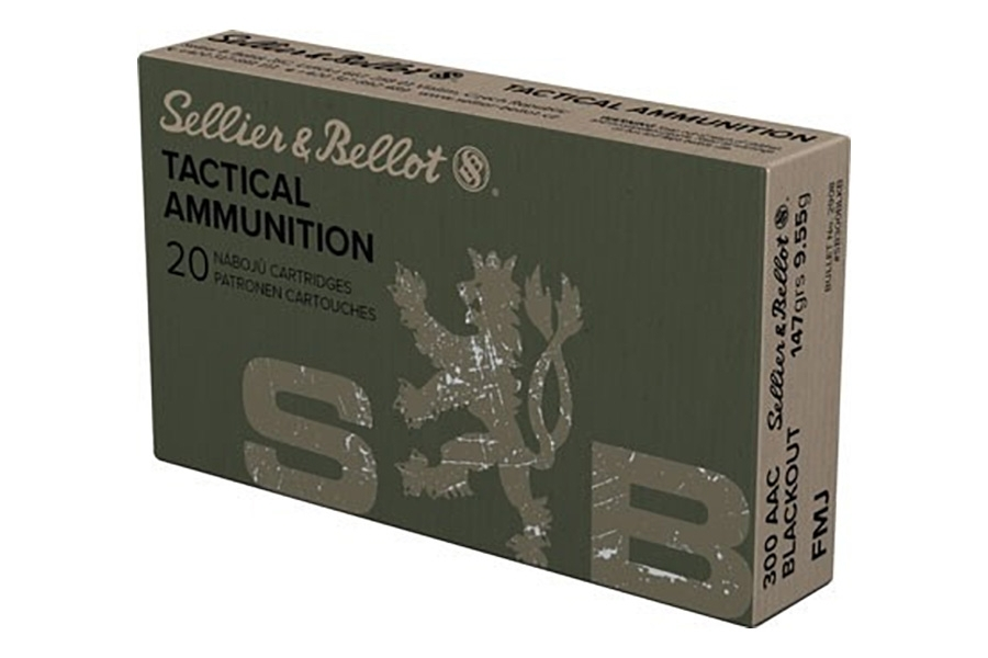 300 AAC Blackout S&B 147gr FMJ Ammo, 20rd Box.