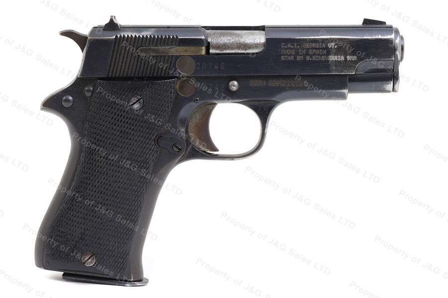 Star BM, 9mm Luger, Compact Semi Auto Pistol, G-VG, Blued, Used.