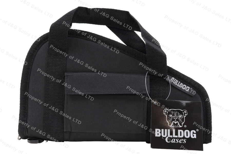"Bulldog 12"" Pistol Case, Black Nylon, With Pocket, New."