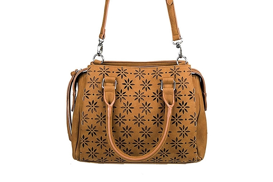VISM Concealed Carry Purse BWQ002, Crossbody Daisy Satchel, Brown.