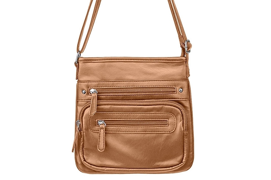 VISM Concealed Carry Purse BWV002, Crossbody Messenger Bag, SM, Brown.