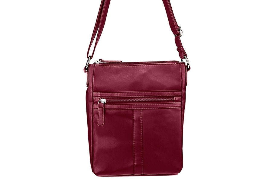 VISM Concealed Carry Purse BWT003, Crossbody Messenger Bag, LG, Burgundy.