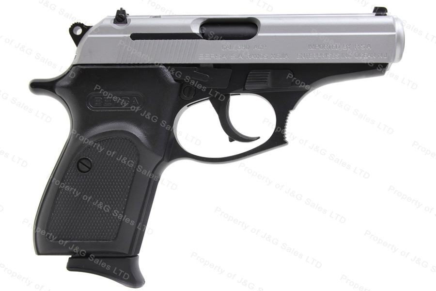 Bersa Thunder 380 Reverse Doulite Semi Auto Pistol, 380ACP, Matte Nickel Slide With Black Frame, New.