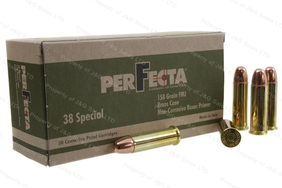 38 Special Perfecta, 158gr FMJ Ammo, Brass Case, 50rd Box.