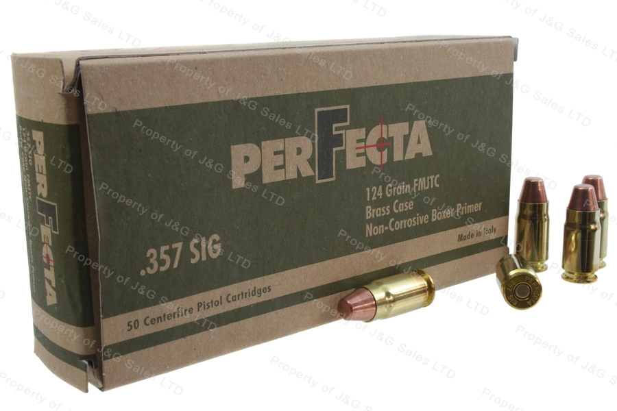 357 SIG Perfecta 124gr FMJ Ammo, Brass Case, 50rd Box.