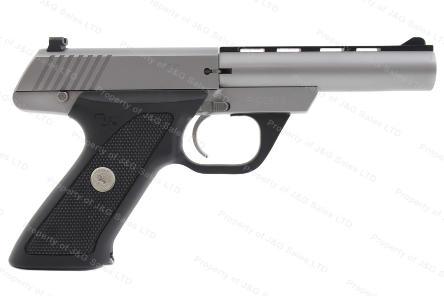 "Colt 22 Semi Auto Pistol, 22LR, 4.5"" Vent Rib Barrel, Matte Stainless Steel, Excellent, Used."