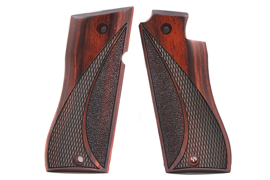 Star BM Cocobolo Wood Grips, Cresta Wave Pattern, Checkered and Stippled.