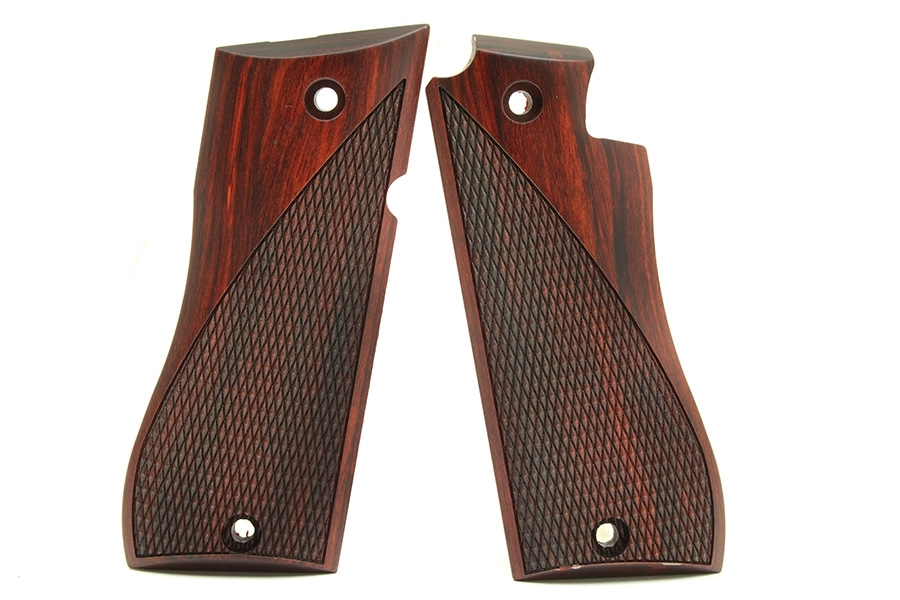 Star BM Cocobolo Wood Grips, Half Checkered Wave Pattern.