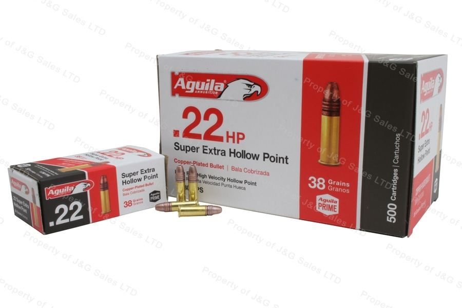 22LR Aguila 38gr Super Extra HP Copper Plated High Velocity Ammo, 500rd Brick.