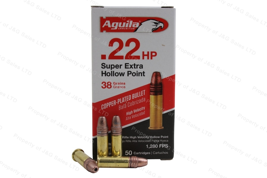 22LR Aguila 38gr Super Extra HP Copper Plated High Velocity Ammo, 50rd Box.