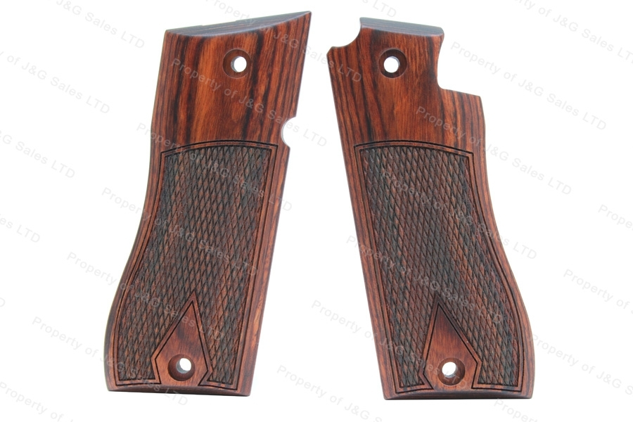 Star BM Cocobolo Wood Grips, Half Checkered Pattern with Diamond.