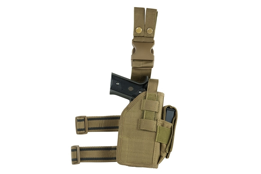 VISM Drop Leg Holster with Mag Pouch, RH, Fits Most Pistols, Tan.