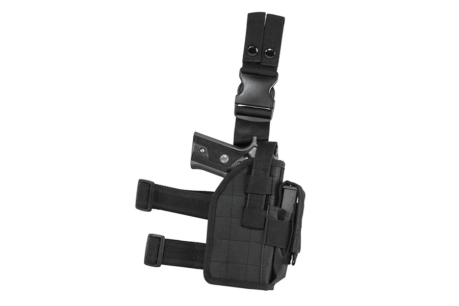 VISM Drop Leg Holster with Mag Pouch, RH, Fits Most Pistols, Black.