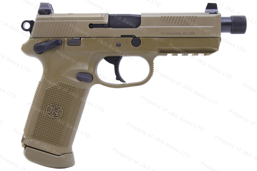 "FNH FNX-45 Tactical Semi Auto Pistol, 45ACP, 5.3"" Threaded Barrel, Night Sights, FDE, New."