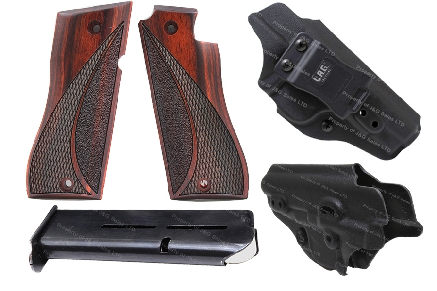 Star BM Accessory Pack, with Holster, Mag, and Wood Grips.