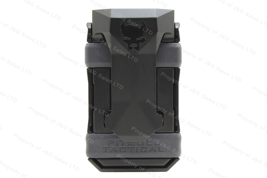 Pitbull Tactical Universal Single Magazine Carrier, Fits Most 9mm - 45ACP Magazines, Black with Gray.