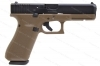 Glock 17 9mm Gen 5 Semi Auto Pistol, Night Sights, nDLC Finish, FDE Frame, New.