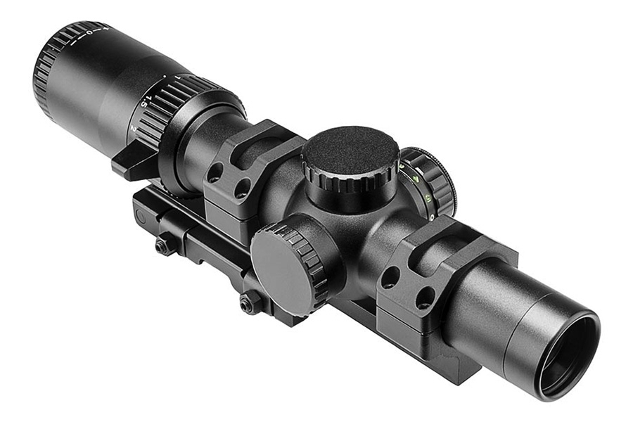 VISM 1-6x24 Tactical Rifle Scope and SPR Mount Combo, 30mm Tube, Illuminated Reticle, New.