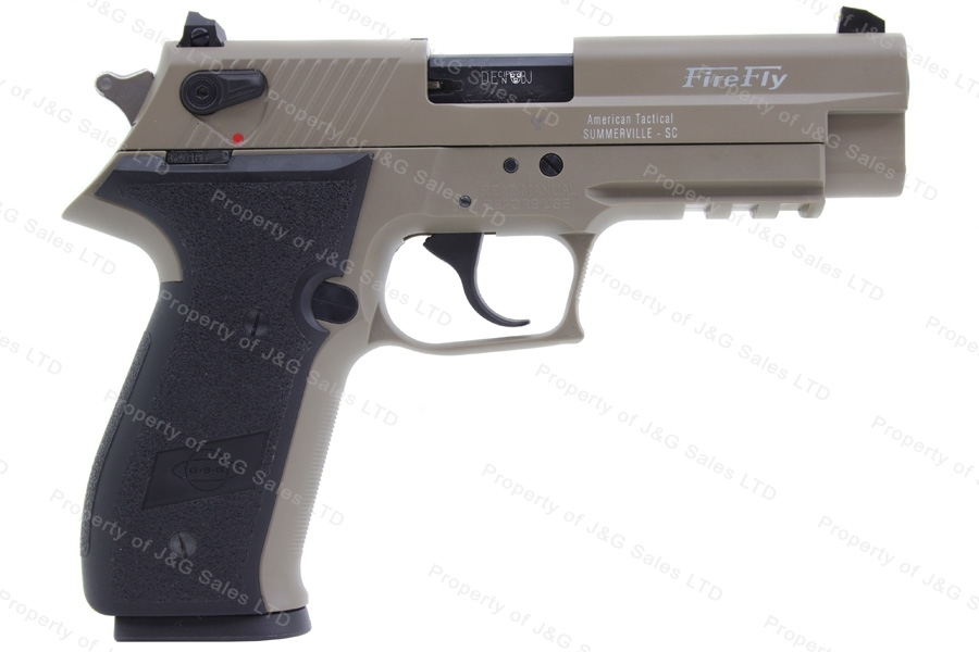 "GSG FireFly Semi Auto Pistol, 22LR, 4"" Barrel, Ambi Safety, Tan and Black, New."