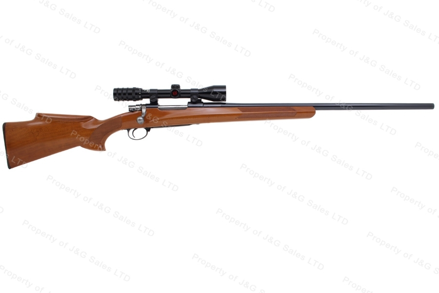 "Mauser Flaig 98 Bolt Action Sporter Rifle, 22-250, 26"" Douglas Premium Barrel, Herters Scope, G-VG, Used."