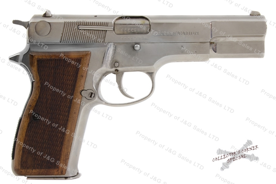 Mauser 90DA Semi Auto Pistol, 9mm, Wood Grips, Nickel Finish, G-VG, Used