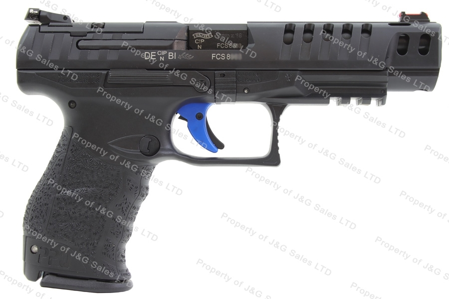 "Walther PPQ Q5 Semi Auto Pistol, 9mm, 5"" Barrel, Optic Ready with Plates, Black, New."
