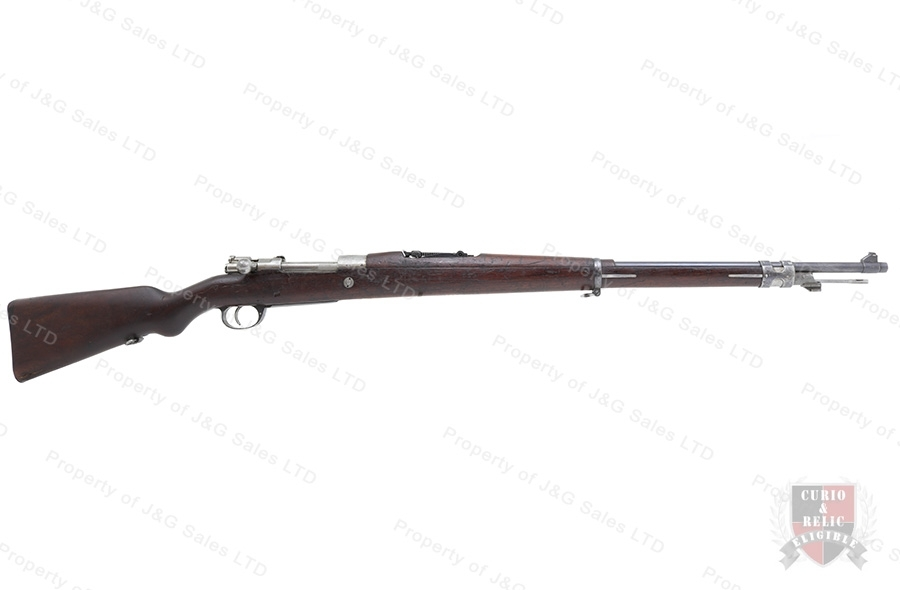 "Argentine 1909 Mauser Bolt Action Rifle, 7.65x53, 29"" Barrel, C&R, Cracked Stock, Good, Used."