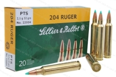 204 Ruger S&B 32gr Ammo PTS, 1000rd Case.