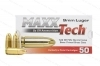9mm Maxxtech 124gr FMJ Ammo, Brass Case, 50rd Box.