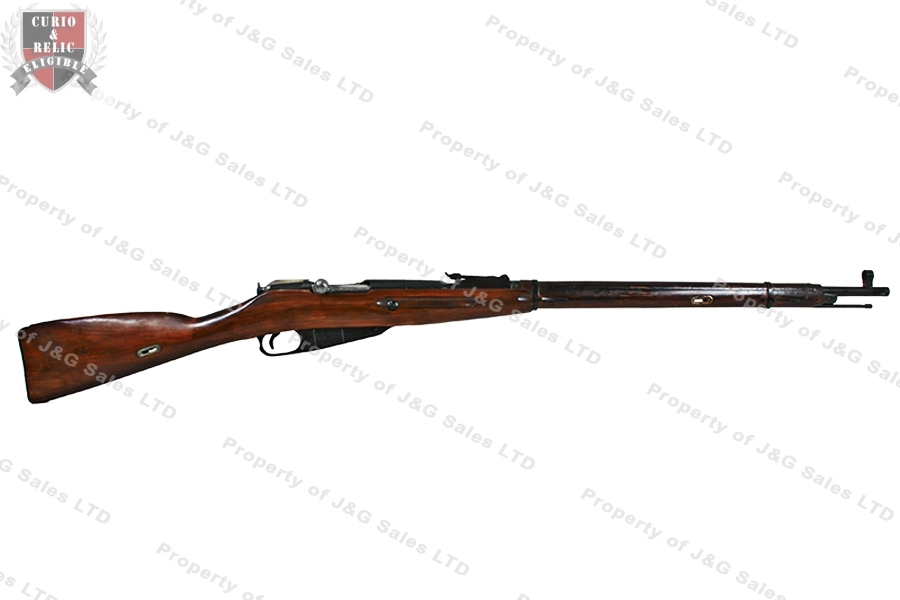 Mosin Nagant 91/30 Round Receiver Rifle, Russian mfg, 7.62x54R, With Bayonet, VG, C&R, Used.