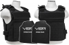 Plate Carrier Vest External Pouch Series, with Two Soft Ballistic Panels, Level IIIA, 2984 by VISM, Black.