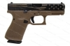 Glock 19 9mm Gen 5 Semi Auto Pistol, FDE Frame, Black Slide With Laser Engraved Flag, New.