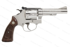 "Smith & Wesson 34 Revolver, 22LR, 4"" Barrel, Pinned & Recessed, Nickel, Excellent, Used. S&W."