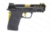 "Smith & Wesson M&P Shield EZ 2.0 Semi Auto Pistol, 380ACP, Performance Cntr, 3.7"" Ported Barrel, With Safety, Black and Gold, New, S&W."