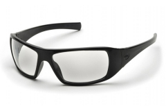 Pyramex Goliath Safety Glasses, Black Wraparound Frame, Clear Lenses.