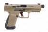 "Canik TP9-Elite Combat 9mm Semi Auto Pistol, 9mm, 4.7"" Threaded Barrel, FDE, Optic Plates, Exc, Used."