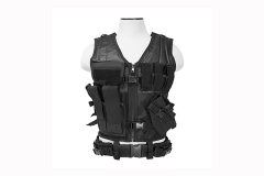 Tactical Vest 2XL With Holster, Mag Pouches & Accessory Pouches, by VISM. Black. New.
