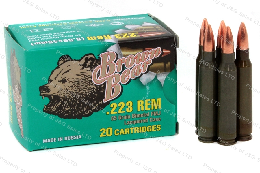 223 Brown Bear 55gr FMJ Ammo, 20rd box.