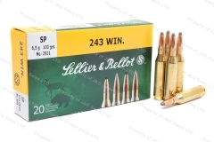 243 Win S&B SP Ammo, 100gr Soft Point, 20rd box.