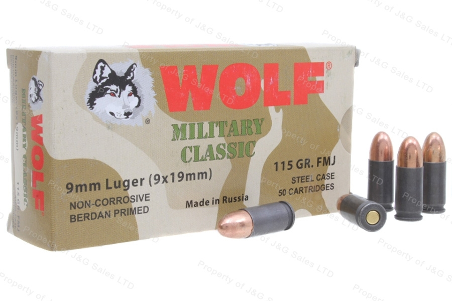 9mm Wolf WPA FMJ 115gr Ammo, 1000rds.