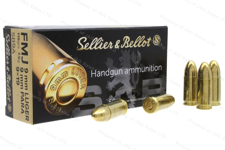 9mm S&B 115gr FMJ Ammo, 1000rd case.