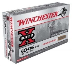 30-06 WIN AMMO SUPER-X, 2700FPS 180GR. POWER POINT JSP, 20RD BOX